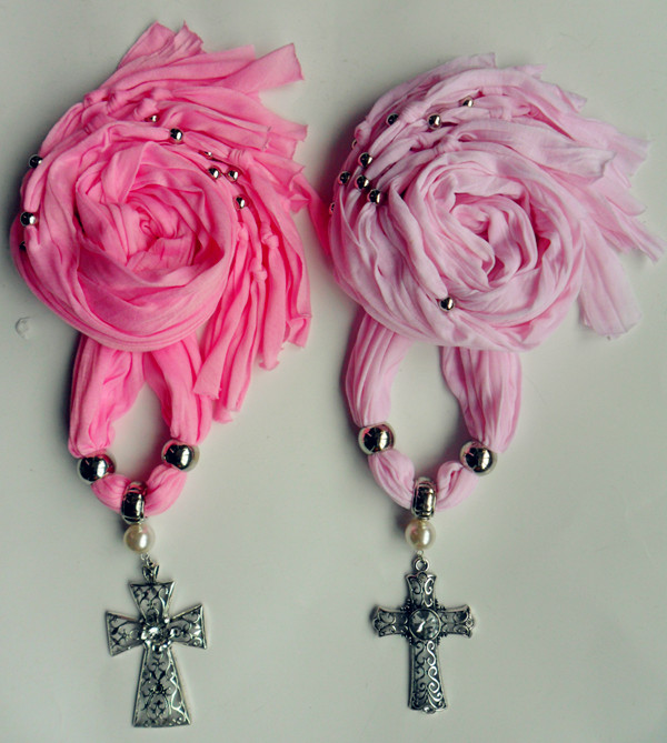 SEO_COMMON_KEYWORDS 2013 Pink Jewelry Scarf with Cross Pendant attached