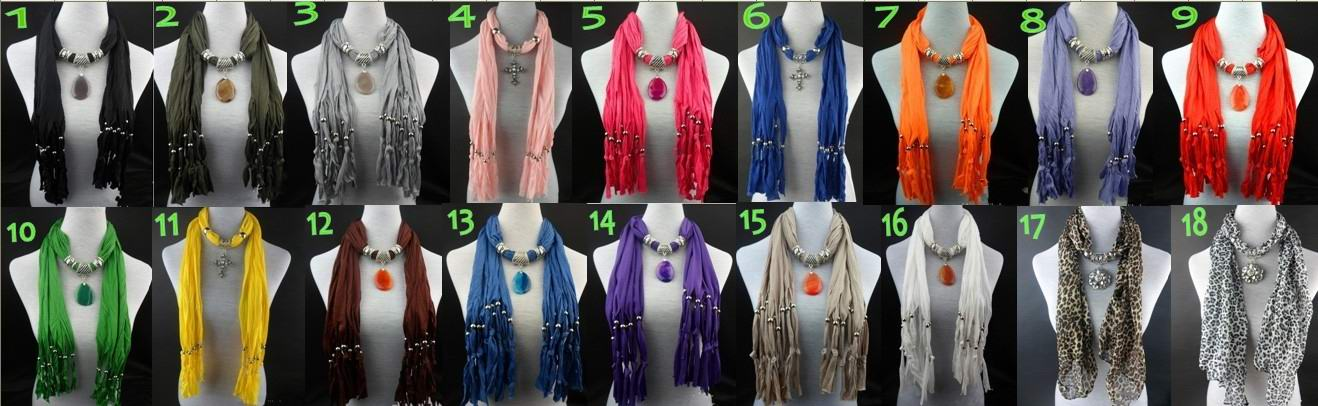 2013 Pink Jewelry Scarf with Cross Pendant attached