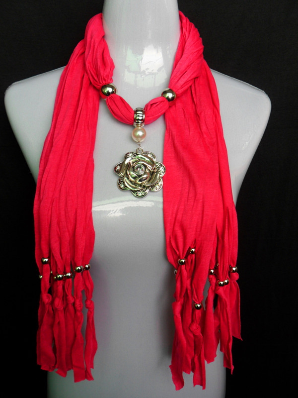 2013 Paris Jewelry Pendant Scarf with Gold Rose Style [JEWELRY1354]