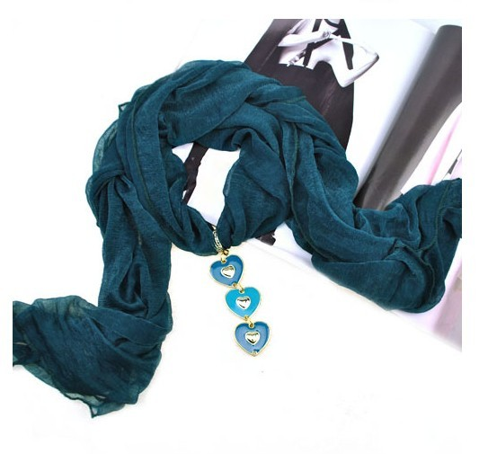 2013 color mixed heart pendant charm jewelry scarves Wholesale