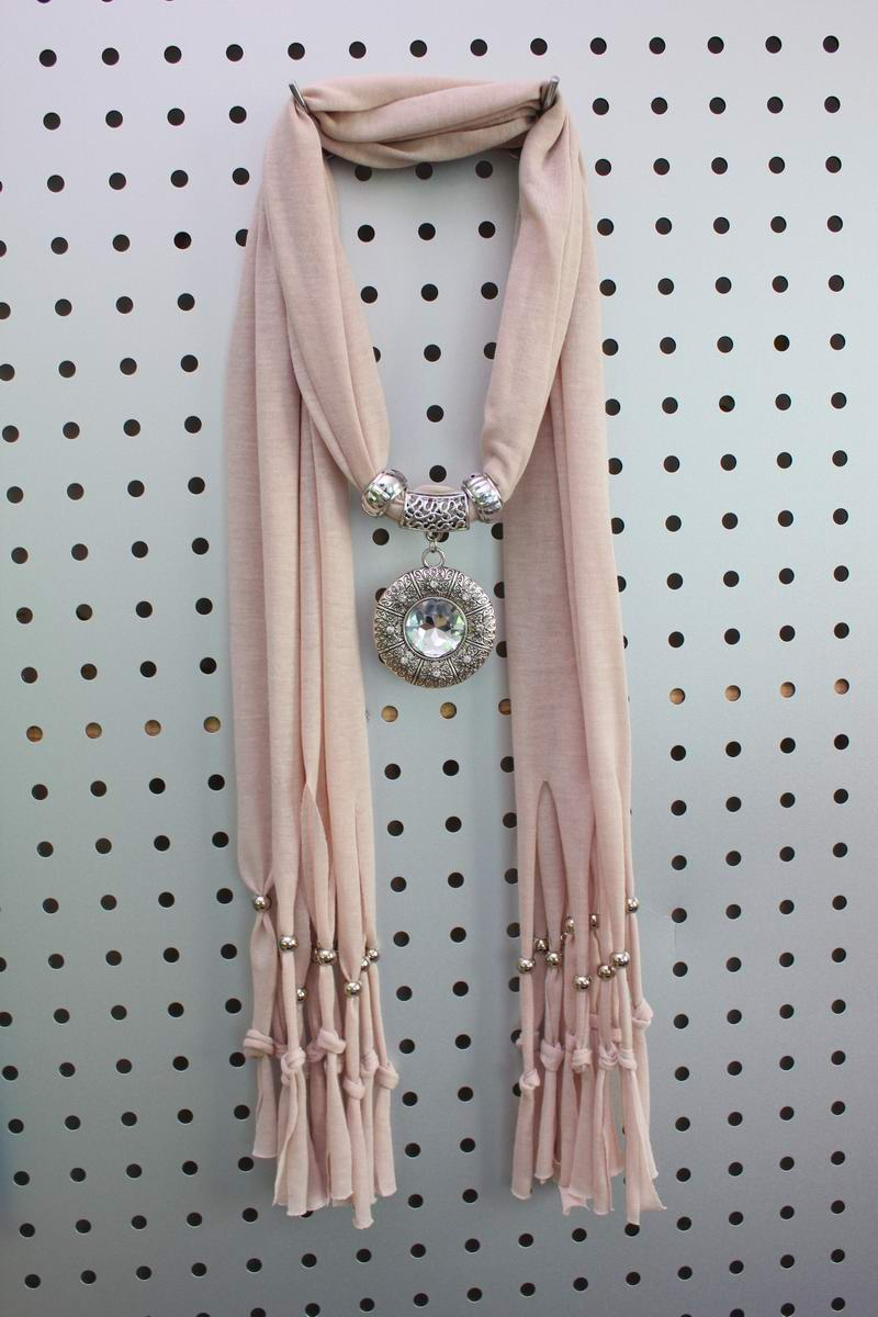 Round Charms Jewelry Scarf with a oversized rhinestone pendant