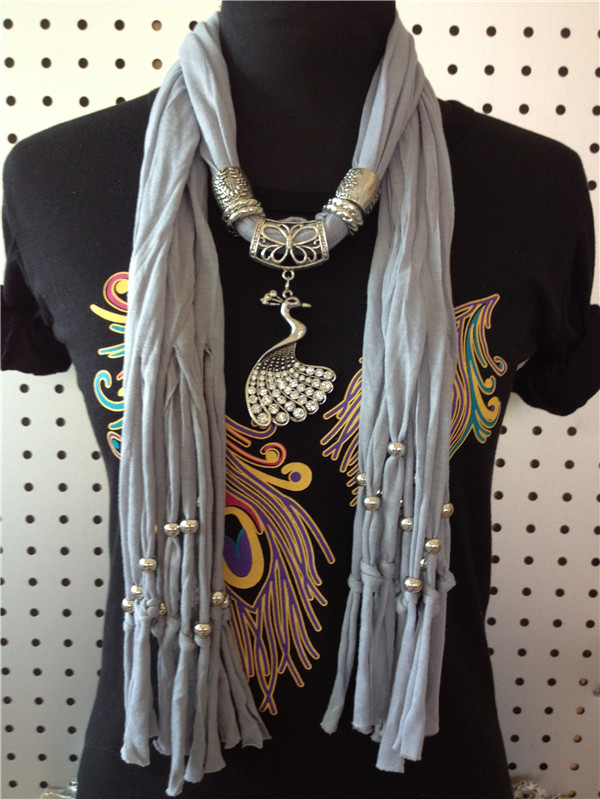 Peacock designs jewelry scarf for women