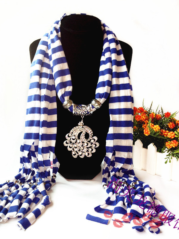 1 Black and Red Stripes Scarf with peacock pendant attached