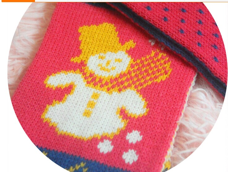 Lovely Snowbaby Pattern Crocheted Kids Scarf