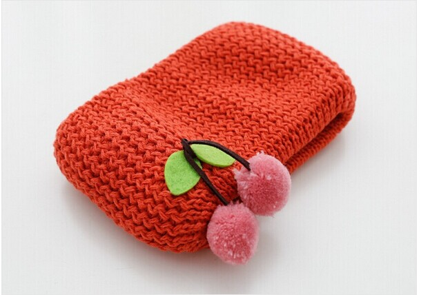 Plush Cherry Attached Knitted Kids Shawl Online