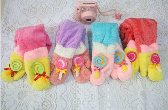 Warm Childrens Scarfs with Gloves Wholesale