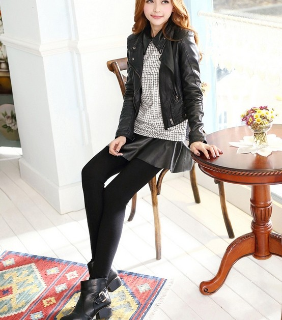 Fashion Faux Leather Skirted Leggings for Women