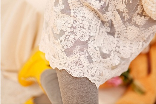 Cute Lace Skirted Grey Leggings Cheap Wholesale
