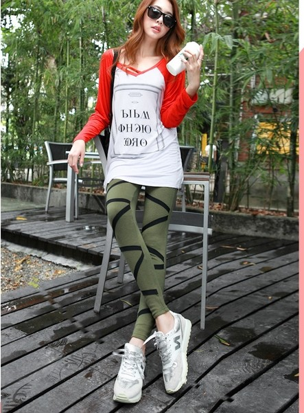 Kintted Waved Elastic Slimming Leggings Online