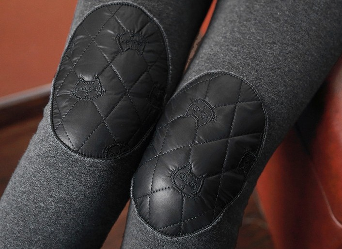Warm-up Kneecap Patch Fleece Winter Leggings - Click Image to Close