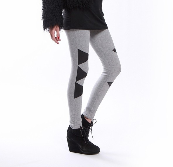 New Design Black Pattern Grey Leggings Online - Click Image to Close