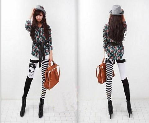 Cute Half Striped Half Pirate Patterned Leggings