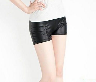 Fashion Black Faux Leather Short Ladies Leggings