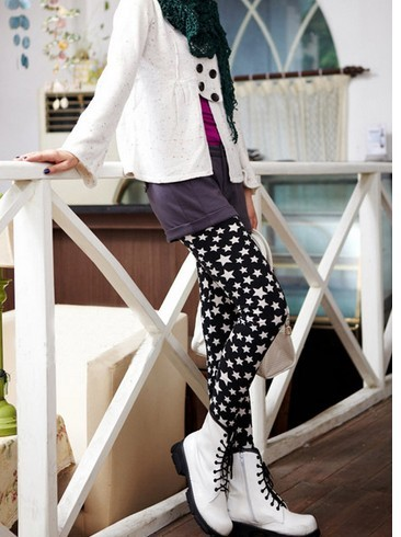 Trendy Stars Pattern Print Fleece Lined Leggings