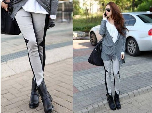 Grey with Black Footless Tights Leggings Outfits