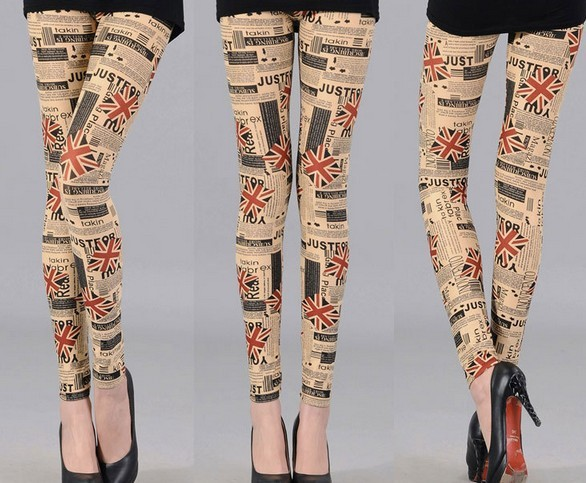 UK Newpaper Printed Leggings as Pants Wholesale