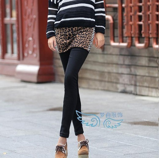 SEO_COMMON_KEYWORDS Tiger Pattern Skirted Winter Leggings for Women