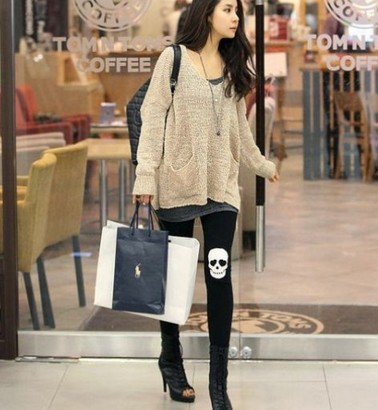 Fashion Cotton Girls Skeleton Leggings Outfits