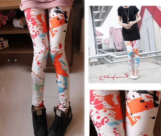 Funky Tie Dye Footless Girls Tights Leggings