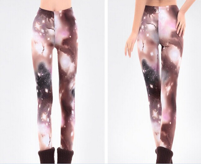 Designer Burgundy Space Pattern Leggings for Girls