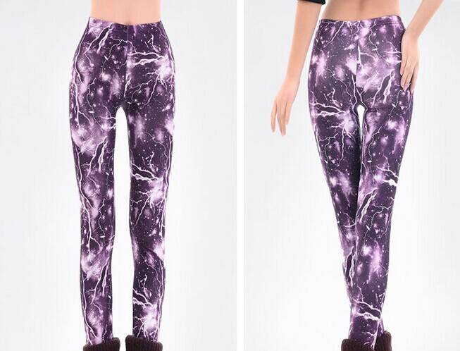 Womens Purple Lightning Space Leggings Online