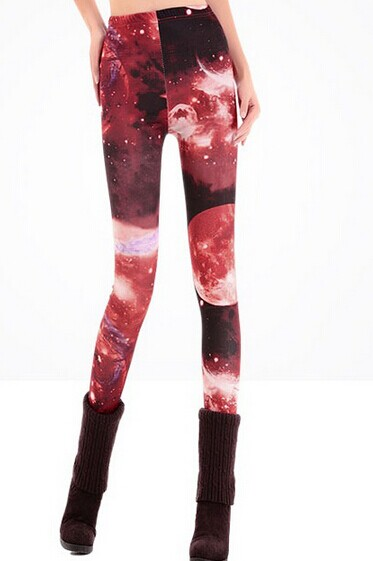 Fashion Burgundy Color Space Leggings Outfits