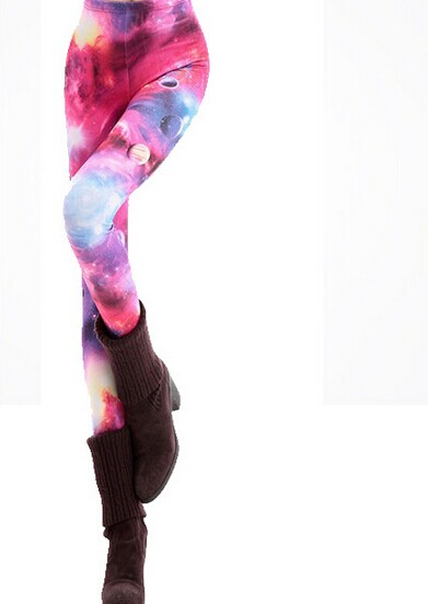 Cute Pink Space Leggings Tights for Women Online