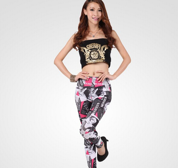 SEO_COMMON_KEYWORDS News Pattern Printed Slimming Tight Leggings