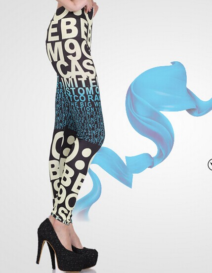 Letters Patterned Spandex Tights Leggings Online