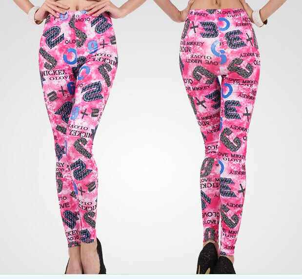 Pink Tie Dye Patterned Leggings for Girls Wholesale