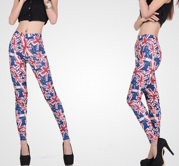 UK Flags Patterned Tie Dye Tights for Women