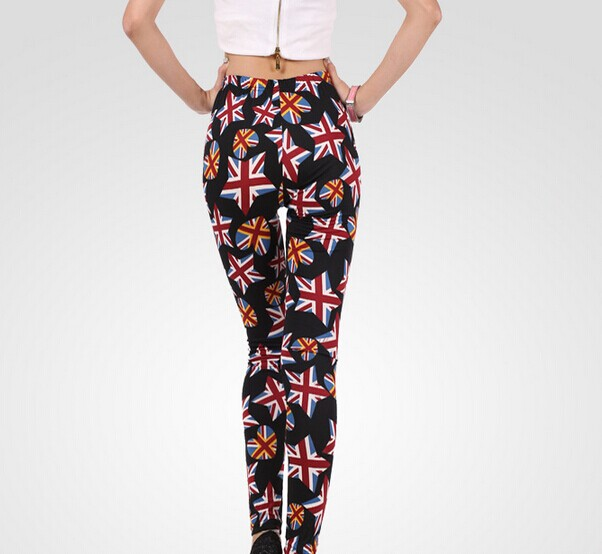 Ladies Tights UK Flags in Different Shapes Printed