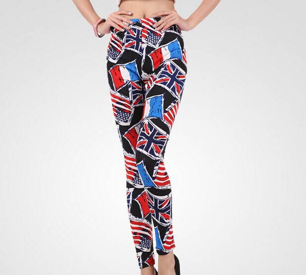 Italy UK and US Flags Printed on Black Leggings