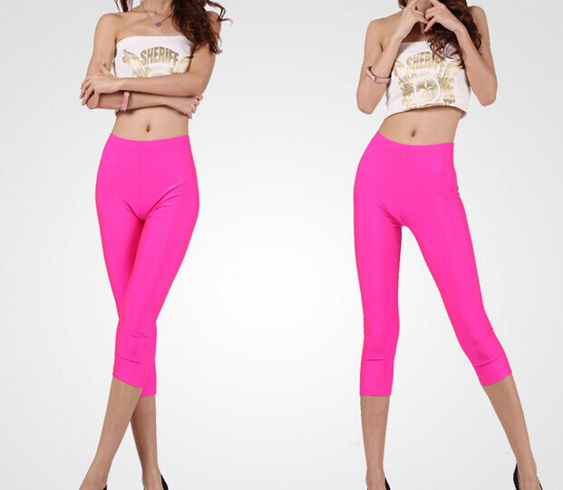 Solid Color Cropped Running Leggings for Women