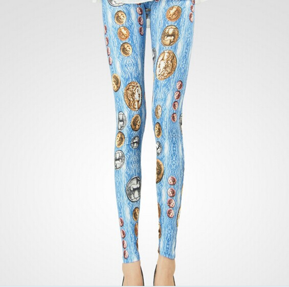 Fashion Rome Coins on Shiny Colored Leggings