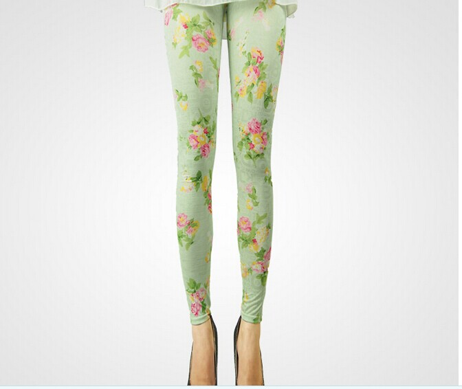 Women Spandex Light Green Floral Leggings Online