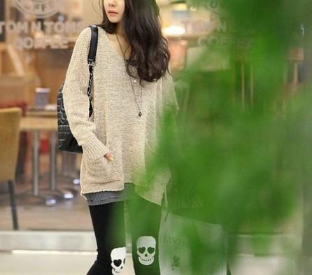 Fashion black leggings with Skull imprint