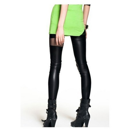 Sexy black shiny leggings with big holes wholesale