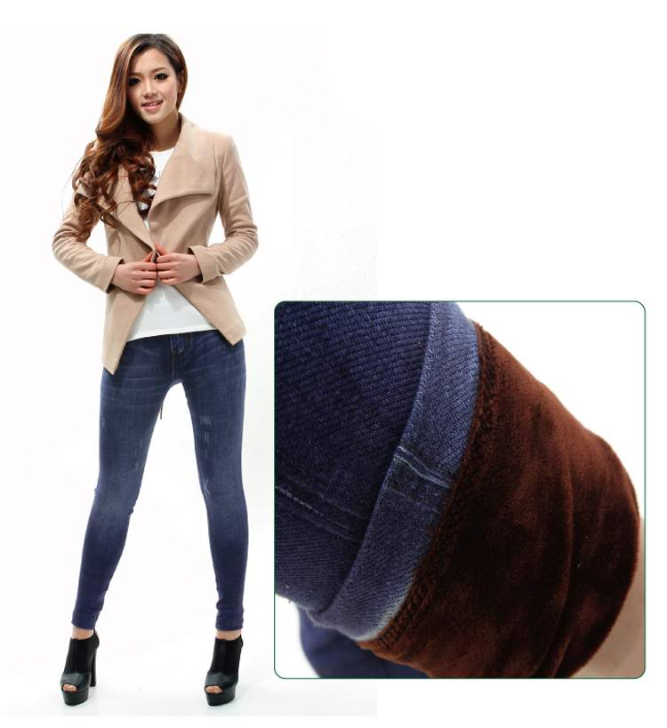 SEO_COMMON_KEYWORDS Winter thcick blue jeans stitching leggings wholesale