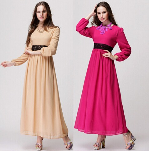New ladies loose Muslim dress Long Sleeve