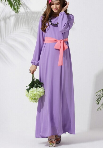 4 Colors Muslim Women's Fashion Long Dress