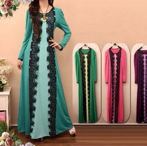 Muslim women's Lace Dress 2014 New arrival Islamic Long Sleeve