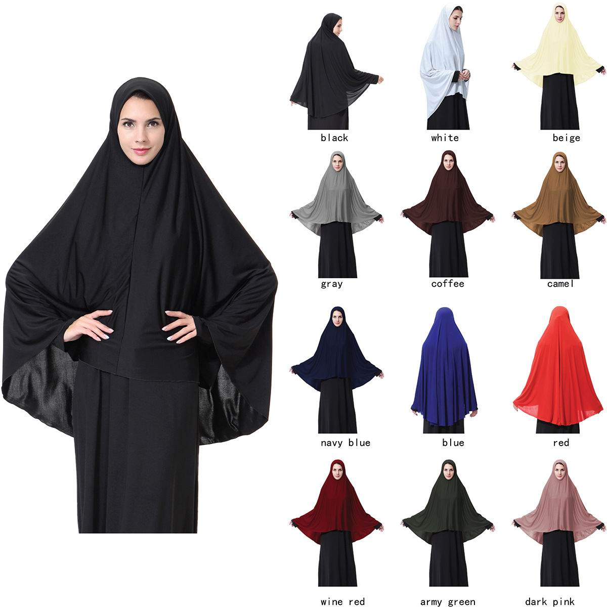 018 solid plain stretchy lycra Prayer abaya
