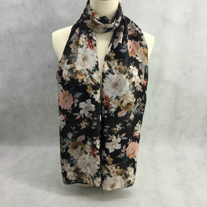 2017 Fashion Flower Print Chiffon Scarf