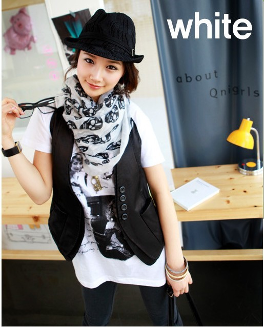 Cool Big Skull Cotton Womens Long Scarf Shawl Fashion