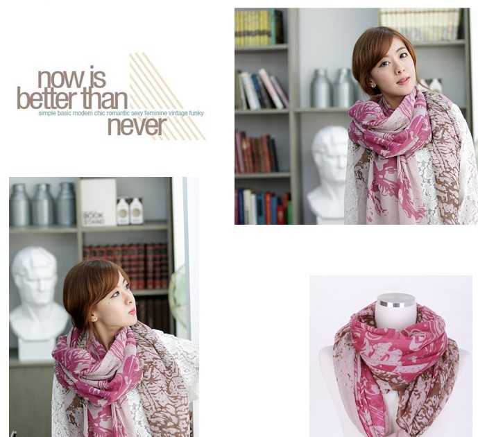Cheap Fashion female Autumn and Spring begonia flower scarf
