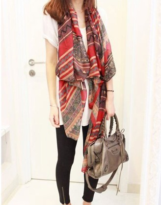 SEO_COMMON_KEYWORDS long Women shawls with geometrical pattern printing for Spring!B