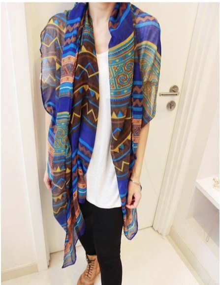long Women shawls with geometrical pattern printing for Spring!B