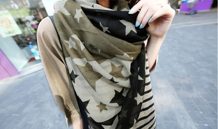 Hot sale! Color block five pointed star scarf for female chiffon