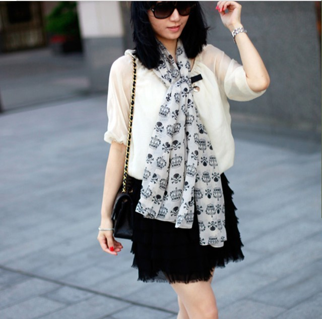 SEO_COMMON_KEYWORDS 2013 HOT Skull Crown Chiffon Scarf for Ladies